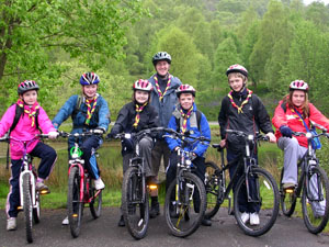 Scouts from 1st Bellshill & Mossend setting off on a sponsored cycle