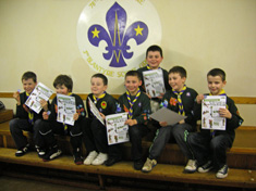 Cubs from the 3rd Blantyre with their chief scout's gold award certificate